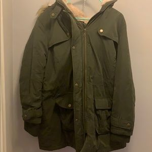 Beautiful Army Green Coat with fur hood trim